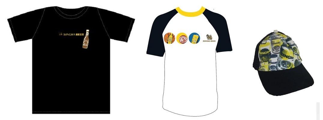 シンハーオリジナルグッズ(Tシャツ、キャップ)プレゼント